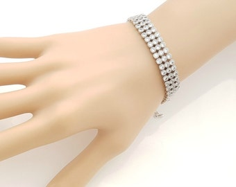 Crystal Bridal Bracelet, Wedding Cuff Bracelet, Crystal Layered Bracelet, Bridal Jewelry, Wedding Accessories, Mara Bracelet
