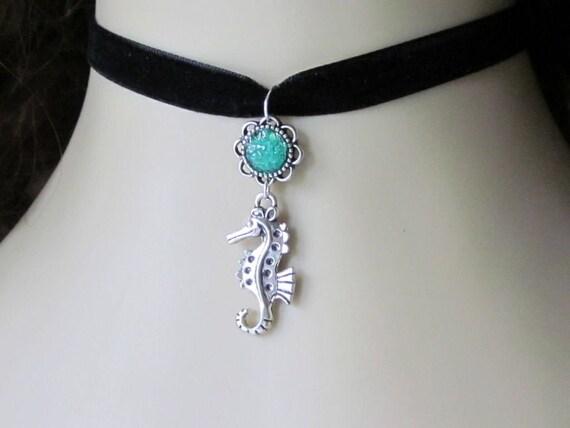Black Velvet Seahorse Choker, Turquoise, Size 14