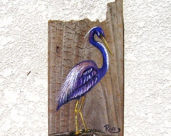 Tri-Color/ LA. Heron Hand Painted on Reclaimed Fence Board  Wood Plaque