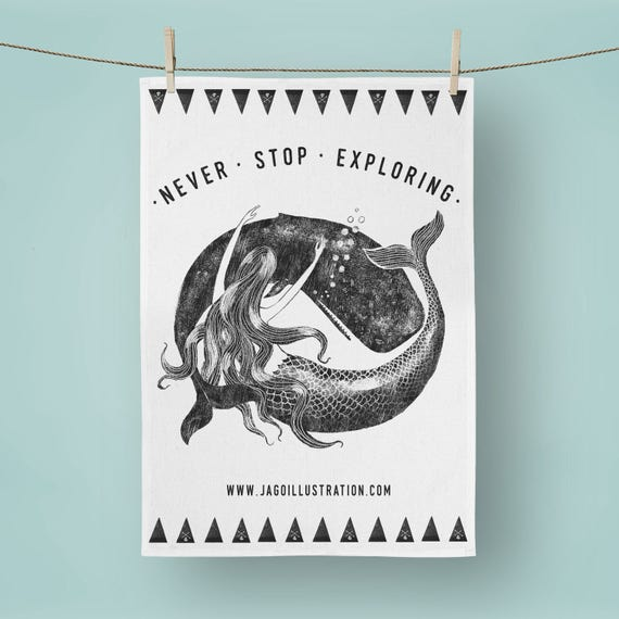 Mermaid & Whale - Tea Towel