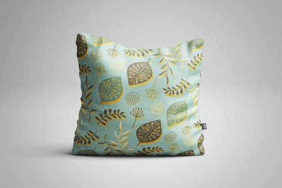 Leaves & Seeds (Blue) Cushion