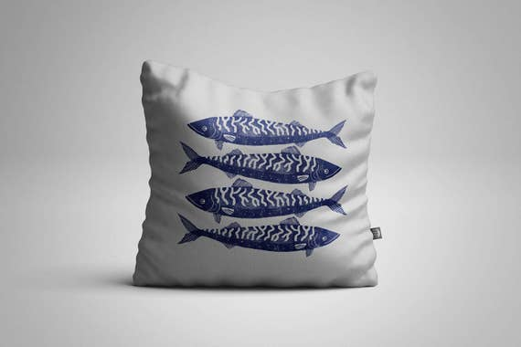 Four Cornish Mackerel Cushion