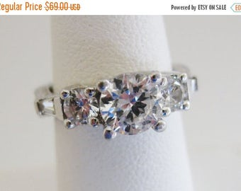 ON SALE Gorgeous Vintage Sterling & Russian CZ Engagement Ring