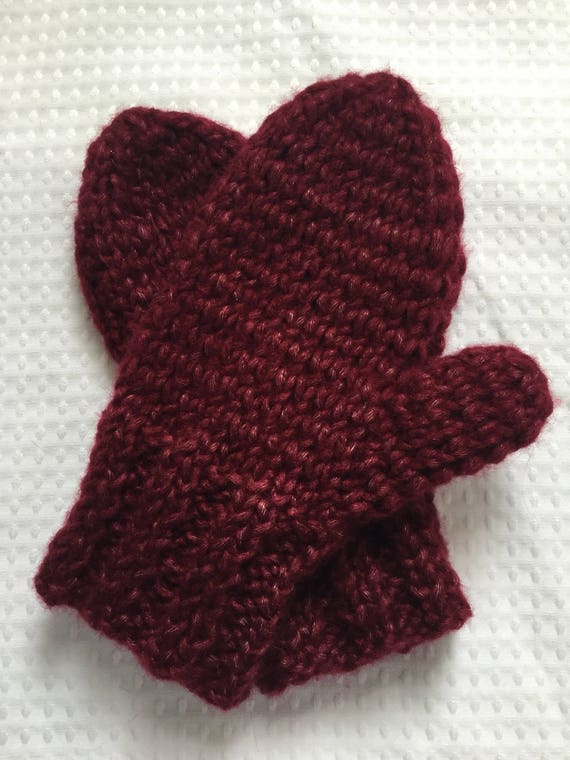 Cherry red fuzzy soft warm hand knit mittens
