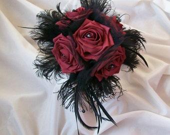 Burgundy Wine Rose & Black Feather Tulle Bespoke Gothic Bridal Posy Wedding Bouquet - Goth Bride