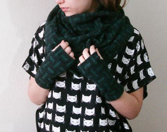 Wool Infinity Scarf, Emerald Geometric Print Scarf Girlfriend Gift Ideas Winter Scarf, Large Scarf, For Her Unique Autumn Fashion