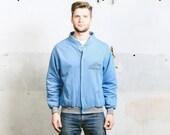 Vintage 80s BOMBER Jacket . Mens Sweatshirt Blue Outerwear BEST COMPANY Ski Coat 1980s Oldschool Skater Clothing . size Large to xl
