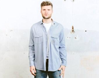 Mens Striped Shirt . Vintage 90s Light BlueDress Shirt Button Down Oxford Shirt Long Sleeves Minimalistic Formal Shirt . size Large L