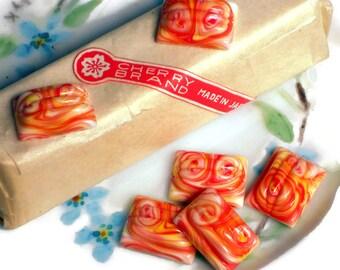 Vintage Glass Cabochons, Art Deco cabochons,Japan cabochons,Rectangle cabochons,12x16mm cabochons,creamsickle, NOS #1189