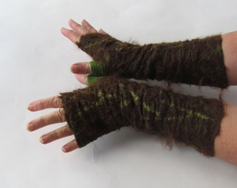Felt fingerless gloves Hand Felted Mittens, Brown  gloves, Green wool mittens, Cozy winter Gloves, wool arm warmer