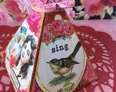 One Mixed Media Art Handmade Exploding VALENTINE BOX, Vintage Valentines, OOAK
