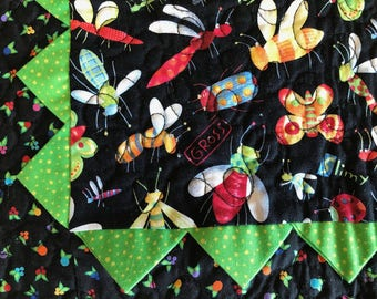 Colorful Bugs Prairie Point Table Runner