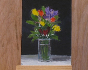 Aceo, flower painting, acrylic still life,  miniature art, spring flowers,
