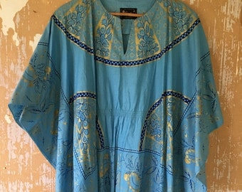 20% OFF SALE vintage.  70s Blue Cotton Butterfly  Tunic // S to M