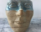 Face Cup Sculpture Head Vessel, Figure Art Bust of a Woman Marbled Stoneware Pottery Blue Glazed Rim