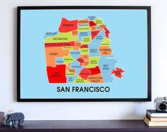 San Francisco Art Wall Map, Bay Area Neighborhood, Oakland California Home Decor, Silicon Valley, Golden Gate Bridge, West Coast Living