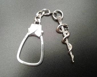 Silver Asclepius Key Chain