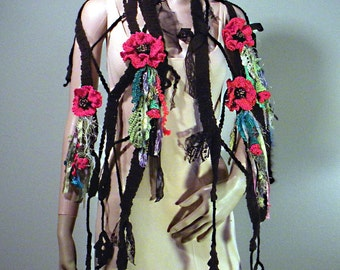 GYPCY POPPIES SHAWLETTE - Wearable Fiber Art, 4 Handcrafted Brooshes, Bold Evening Drama, Extra Long, Freeform Crocheted Flowers/Leaves