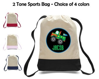 Personalized Monster Truck Two-Tone Canvas Sports Bag Backpack - Great for School, Preschool, Camp, Sports, Activities & More!