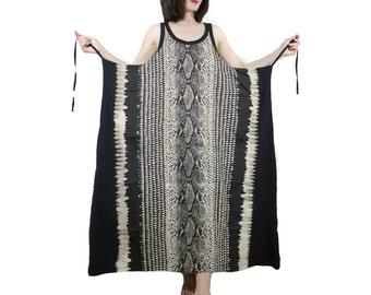 Sleeveless Scoop Neck Wrap Snake Skin Printed Cotton Jersey Maxi Dress Women Pullover Sun Dress Beach Cover Dress