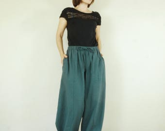 Take Me Home...Boho Funky ChicTealish Gray Cotton Mix Linen Pants With 2 Pockets