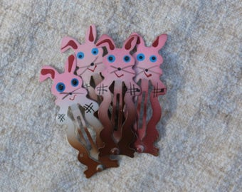 Cute Vintage Bunny Rabbit Barrettes, Four Metal Hair Clips, Brown and Pink