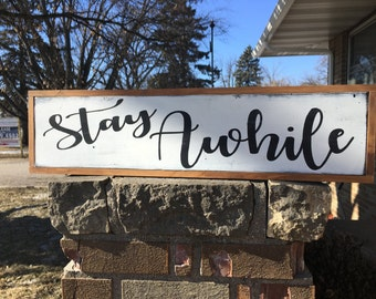 "Stay Awhile Sign/Farmhouse Sign/Framed Wood Sign/Farmhouse Decor/Rustic Sign/Farm Decor Wood Sign/Hospitality Sign/DAWNSPAINTING/25"" X 6.5"""