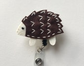 ID Badge Holder Retractable in HedgeHog Felt, Hedgie Fashionable Badge Reel, Ready to Ship, Nurse Badge Reel, Teacher Gift, Badge Accessory