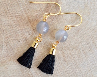 Black Tassel and Grey Agate Earrings