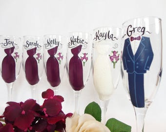 EXACT REPLICA of Your Dresses and Tux, Hand Painted Bridesmaid Glasses, Bridesmaid Wine Glasses, Painted Champagne Glasses, Bridal Gifts