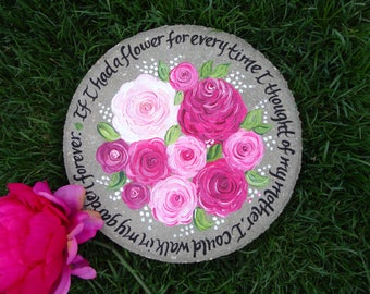 MOTHER'S DAY Gift- Pink Peonies Stepping Stone, Memorial Gift, Memorial Stones, Memorial Gift, Gift for Mom, Gift for Grandma, Grandmother