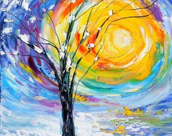 Winter Sunrise original oil painting abstract palette knife impressionism on canvas fine art by Karen Tarlton