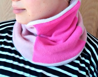 Cashmere cozy neckwarmer, tube scarf, reversible, one size, pink, hot pink, pinks, womens