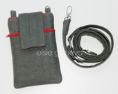 Gray Phone Case with Shoulder Strap iPhone 5 6 6s Plus Gray Linen Satchel - Or Choose Any Other Color Combination - Made to Order