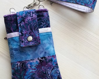Batik Phone Case with Wristlet / Optional Shoulder Strap Indigo Blue Purple and Orchid Lavender or Coral & Purple with Wristlet iPhone 6 7