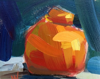 Tangelo Original Still Life Oil Painting by Angela Moulton 6 x 6 inch on Panel
