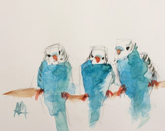 Three Blue Parakeets Original Bird Watercolor Painting by Angela Moulton