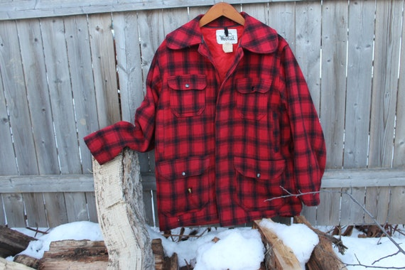 vintage Woolrich 523 buffalo plaid hunting jacket, Made in USA