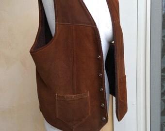 Vintage Suede Ranch Vest Western Cut Snap Up Fur Lined Vest