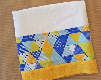 Blue Yellow Geometric Flour Sack Towel - Kitchen Dish Towel - Lint Free Tea Towels - Fabric Trimmed Towel - Embellished Towel