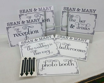 Personalized Wedding Signs Custom Yard Signs Custom Reception Decorations 1 Sided, 6 - 12X16 Coroplast Signs with Stakes