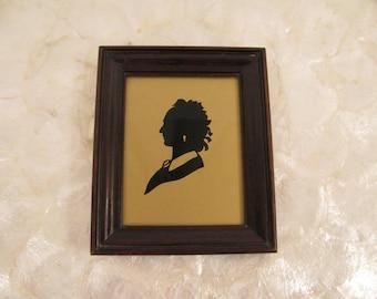 "Vintage Silhouette Lady - Wood Framed - Buckbee Brehm - 1950s - 5.5"" by 4.5""- Under Glass -"