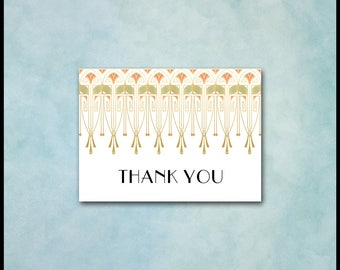 Art Deco Thank You Card / Art Nouveau / Gold Coral Green / Matching Invite / Theme Party, Gatsby Wedding, Birthday Anniversary Engagement