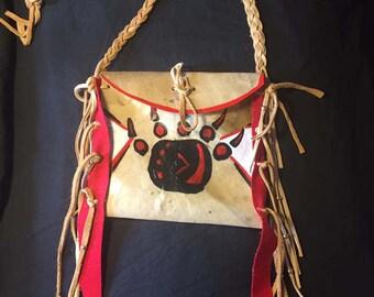 Native American Made Parfleche bag Rawhide  medicine bag deer pow wow regalia