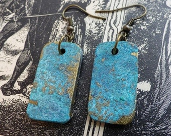 Brass and patina polymer clay earrings