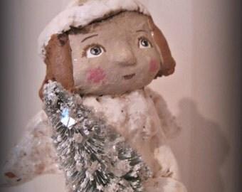 Angel paper mache doll folk art papier mache Christmas doll