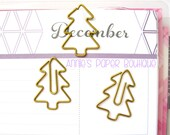 CHRISTMAS TREE Planner Clip - Use with Your Erin Condren, Filofax, Happy Planner, Travelers Notebook, Kate Spade, Gold Metal Paper Clip