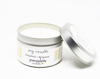 Aromatherapy Soy Candle Grapefruit Bergamot -Travel Tin Candle -  / 4 oz.