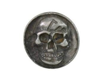 10 pcs Zinc Matt Silver Coin Skull Head Buttons Metal Rapid Rivet Stud Diy Costumes Crafts Decoration Findings 16 mm. SK MS 16 3DH