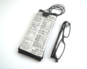 Newspaper fabric eyeglass case with lanyard black faux leather, neck glasses holder, script pattern spectacles cover with pocket